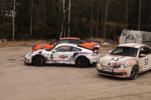 """Rost Look VW Beetle """"Herbie"""" und Porsche 911"""