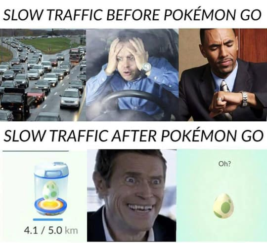 Traffic before and after Pokemon Go