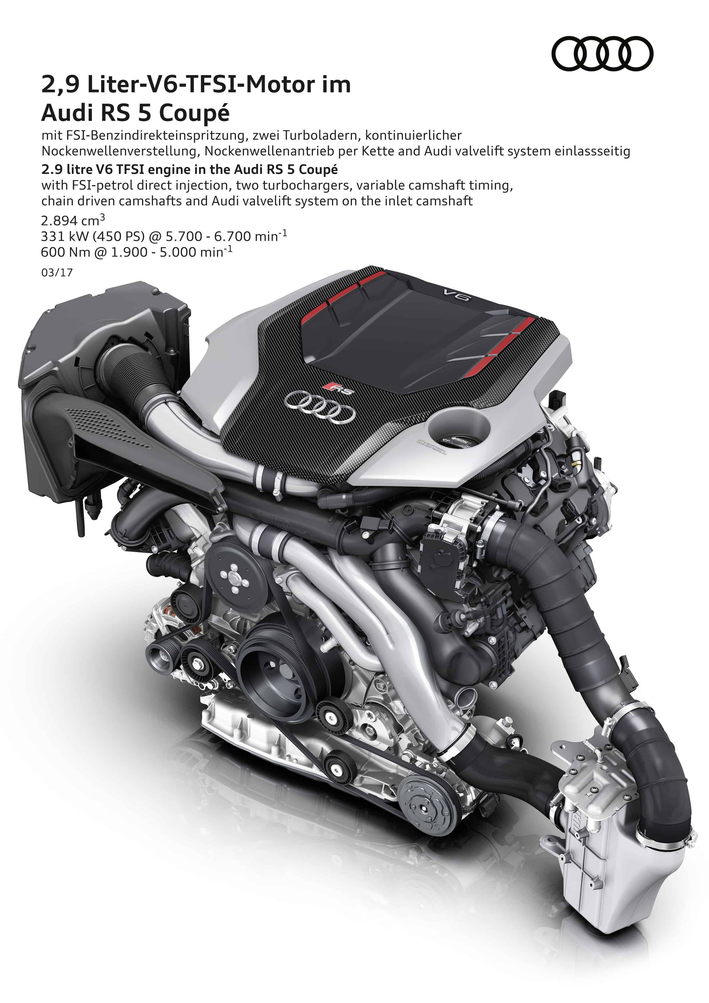 2.9 Liter V6 TFSI Motor - Audi RS 5 Coupé