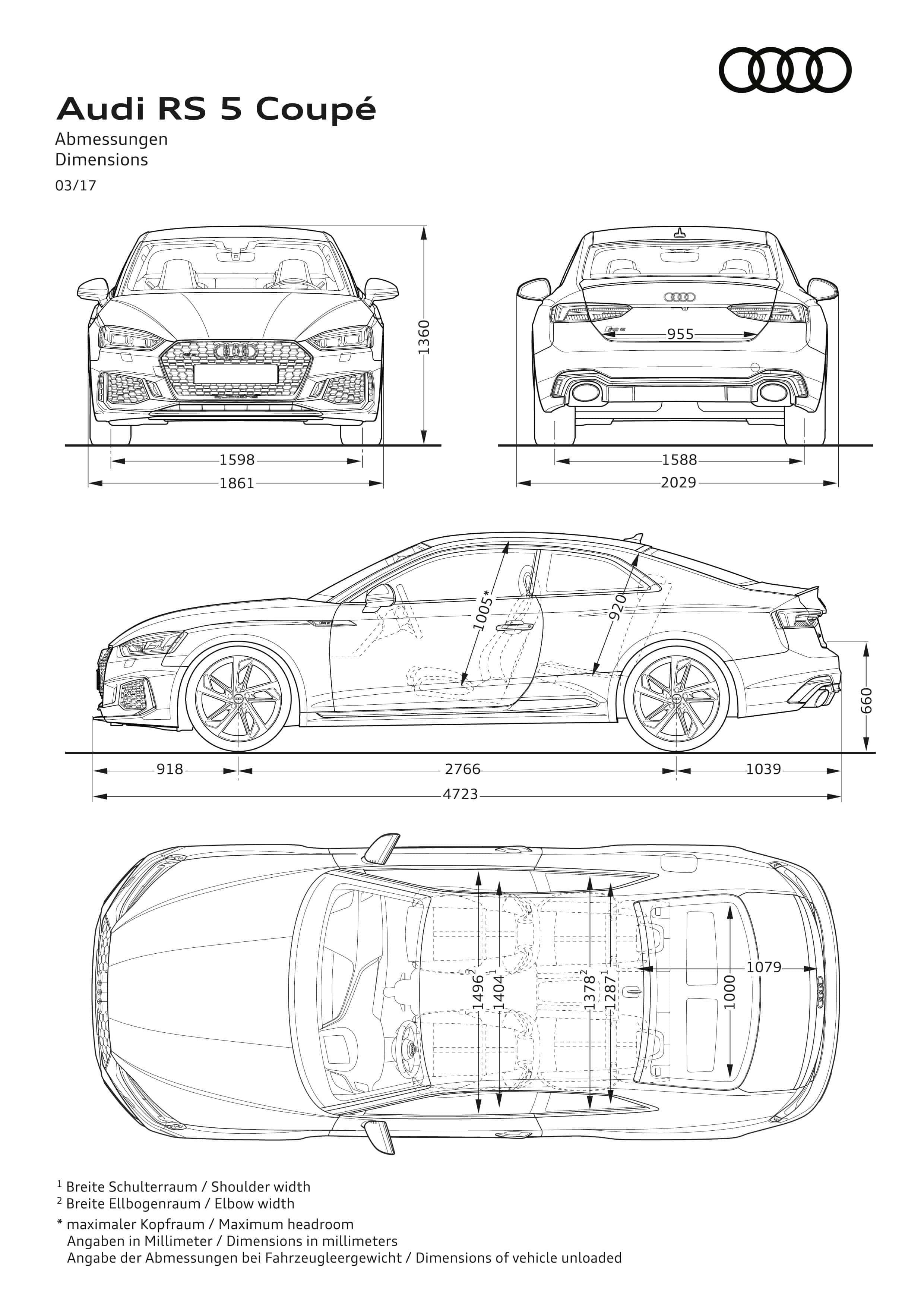 Dimensionen - Audi RS 5 Coupé