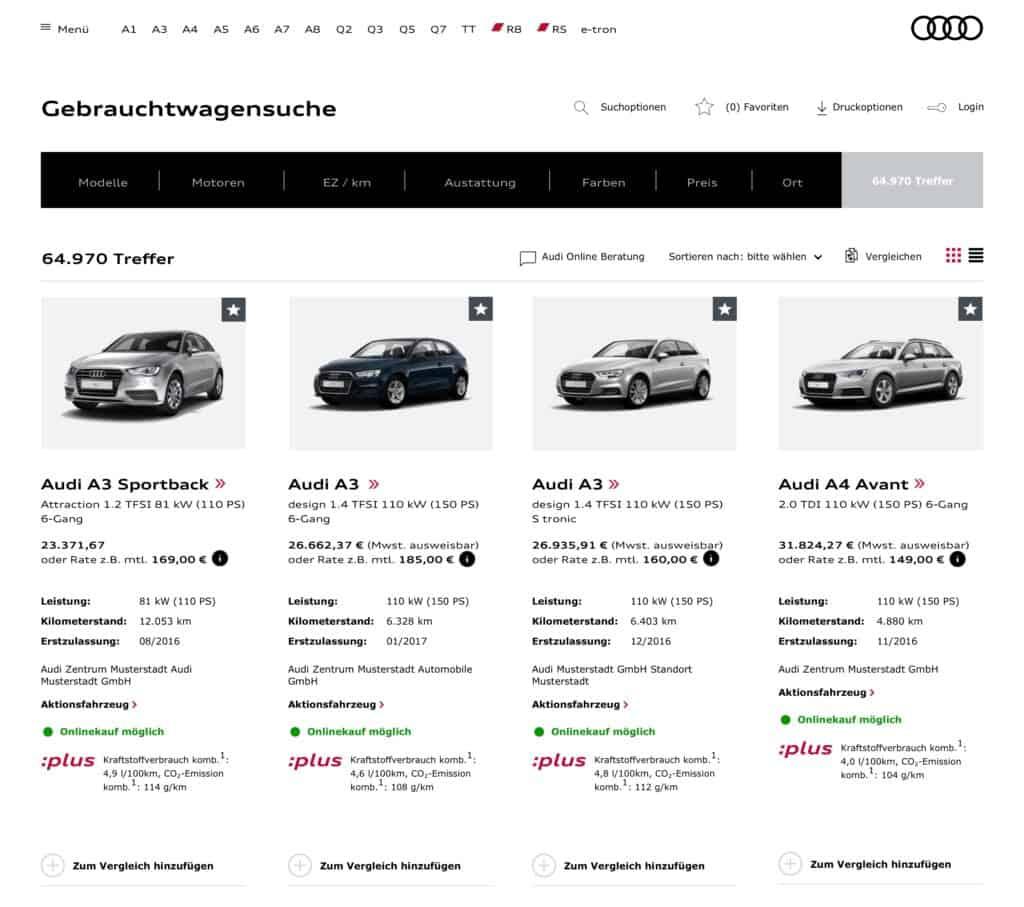 Audi Gebrauchtwagensuche