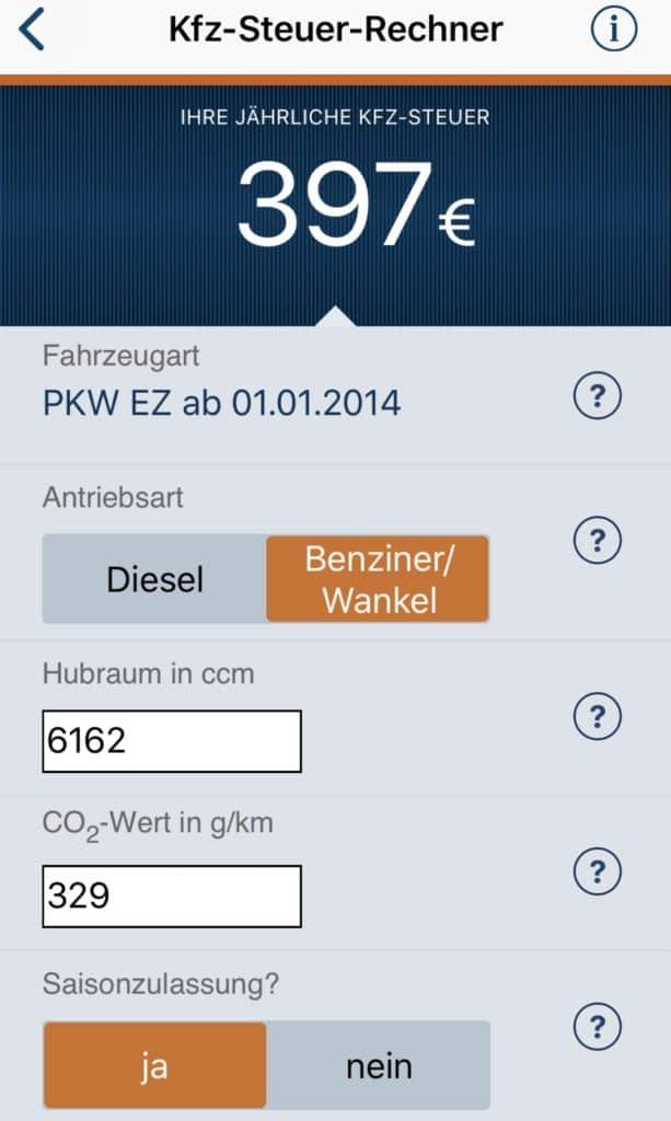 KFZ-Steuerrechner App für iOS