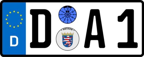 Kennzeichenlänge ermitteln - D-A1 mit Engschrift - 277 mm