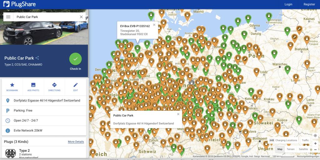 Plugshare.com - Elektro-Tankstellen auf der ganzen Welt finden