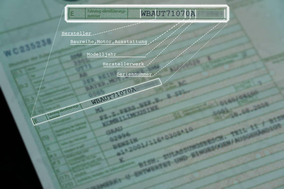 Fahrgestellnummer im Fahrzeugbrief (Zulassungsbescheinigung Teil 2)