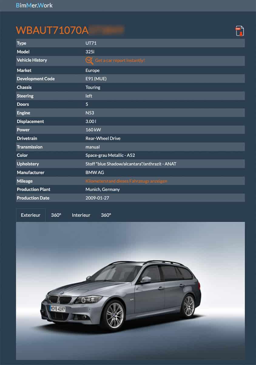 Fahrzeugausstattung BMW 3er Touring E91